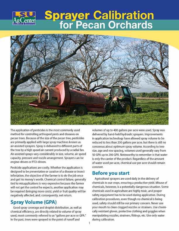Sprayer Calibration for Pecan Orchards