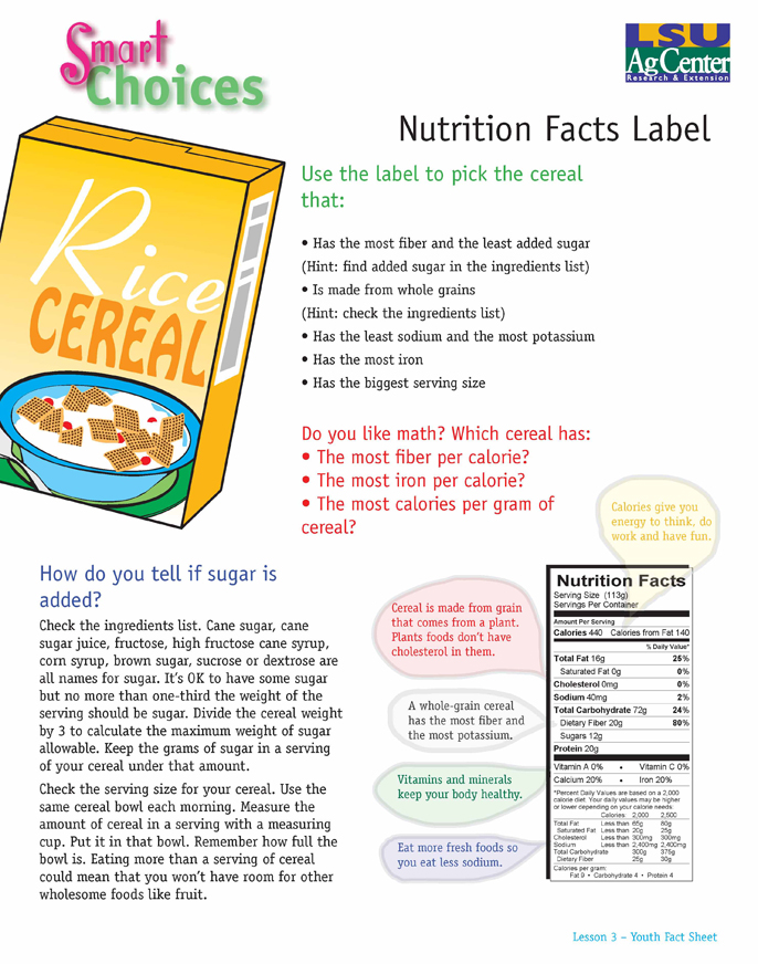 Smart Choices:  Nutrition Facts Label