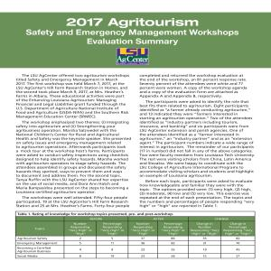 2017 Agritourism Safety and Emergency Management Workshops Evaluation Summary