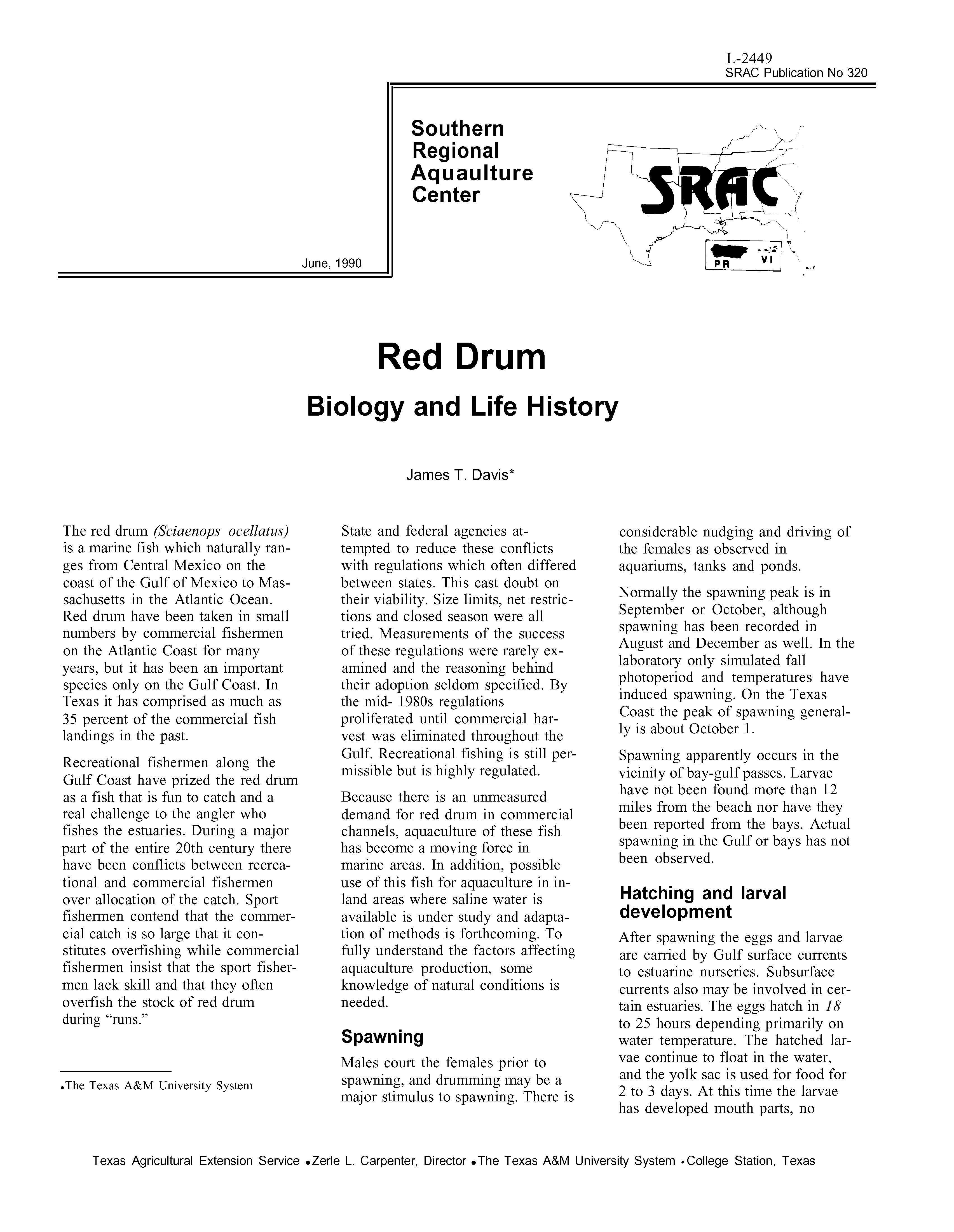 Red Drum: Biology and Life History