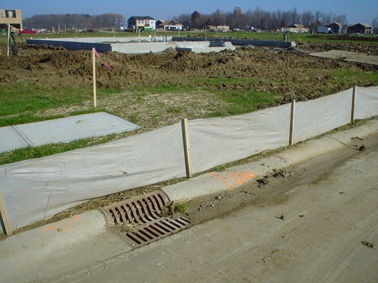 Silt fence erosion prevention in Indiana.
