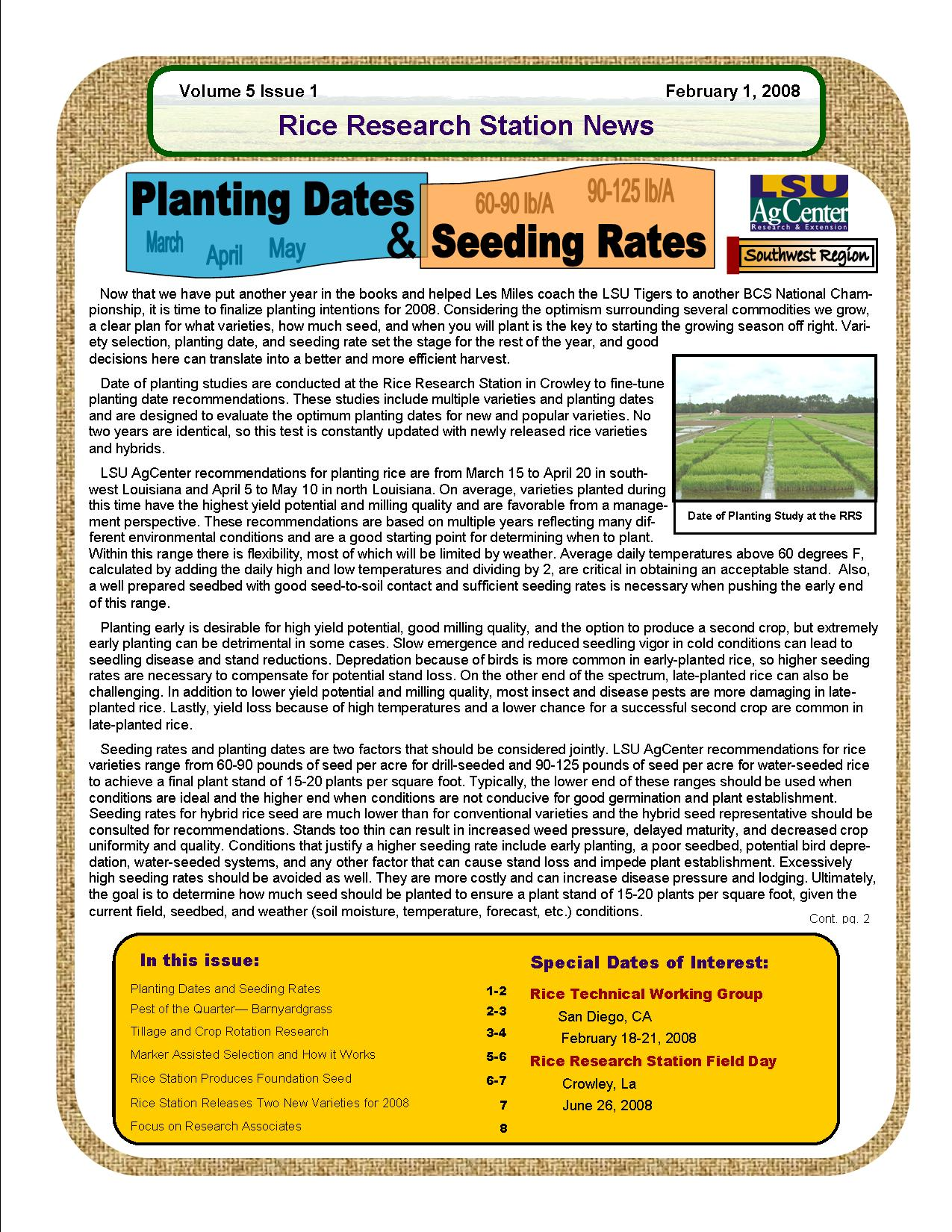 2008 Rice Station Newsletters