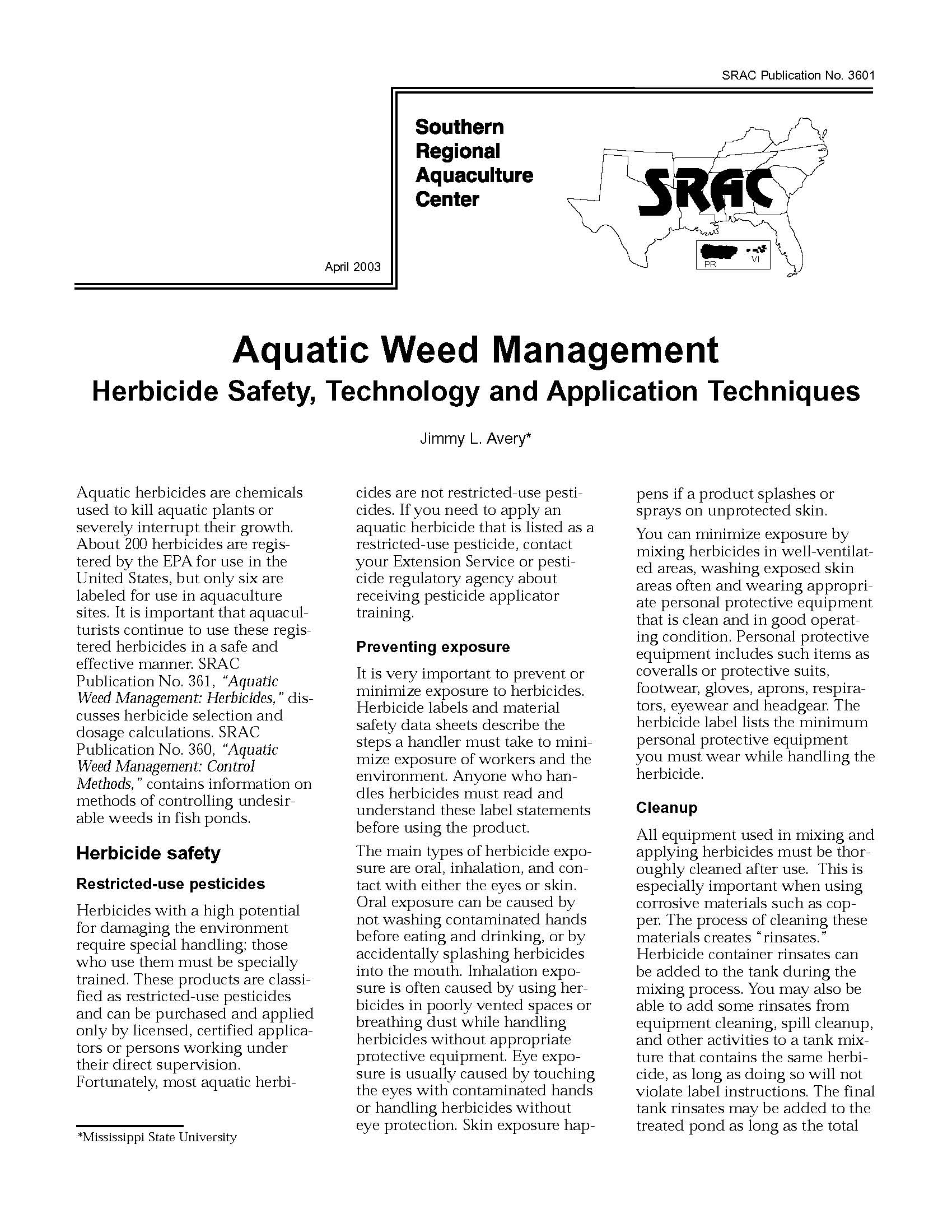 Aquatic Weed Management:  Herbicide Safety Technology and Application Techniques