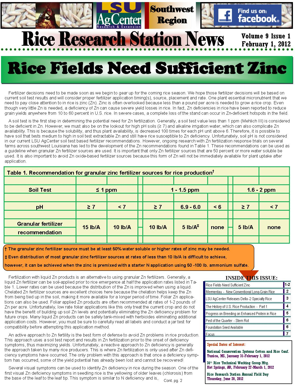 2012 Rice Research Newsletters