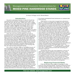 Management and Economic Considerations for Mixed Pine-Hardwood Stands