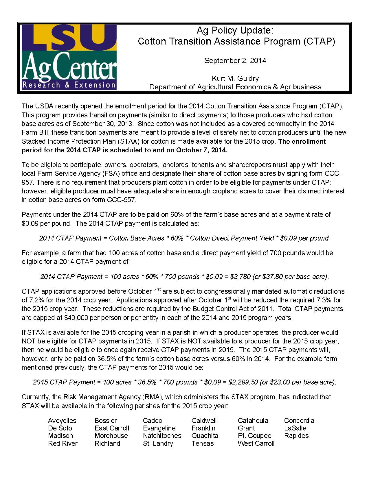 Ag Policy Update: Cotton Transition Assistance Program (CTAP)
