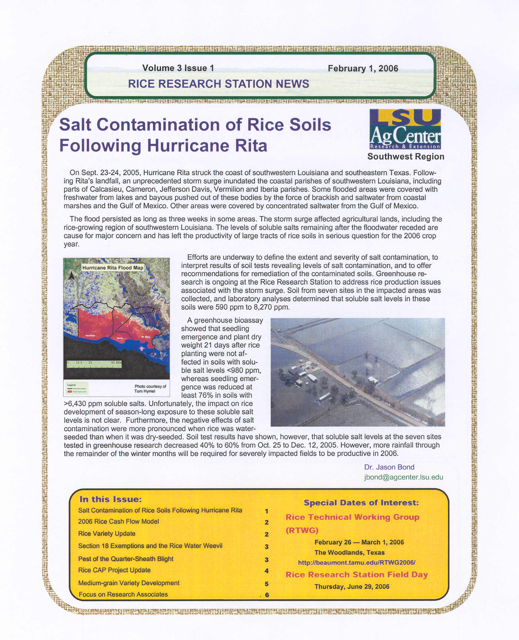 2006 Rice Research Station Newsletters