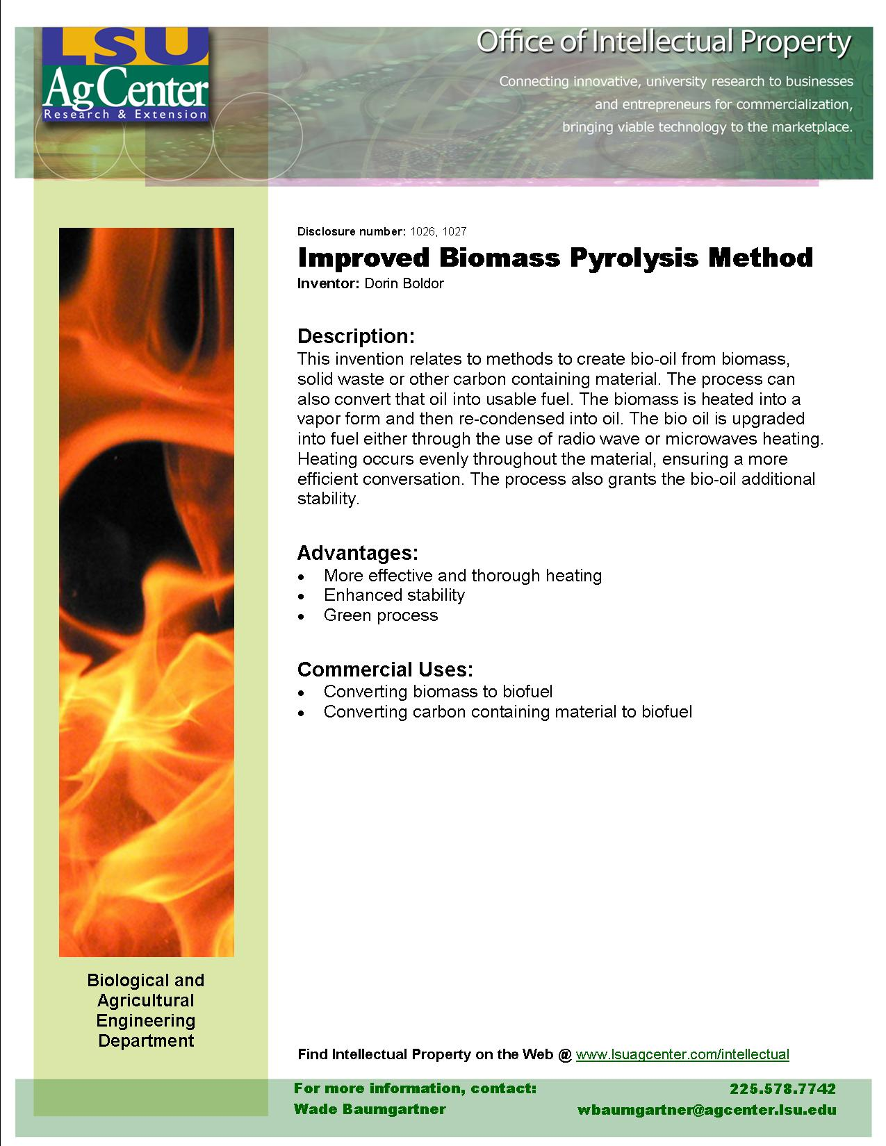 Improved Biomass Pyrolysis Method