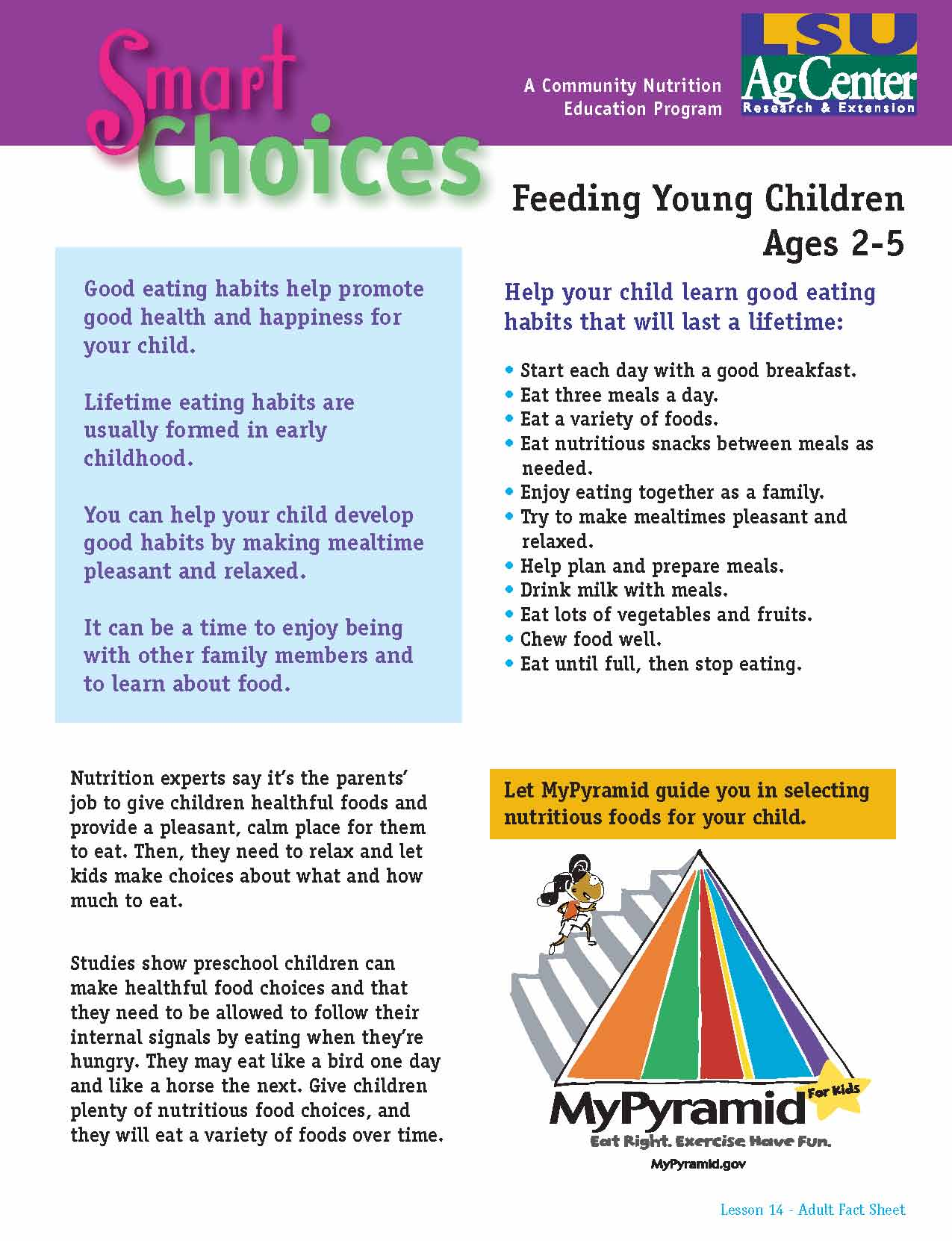 Smart Choices:  Feeding Young Children Ages 2-5