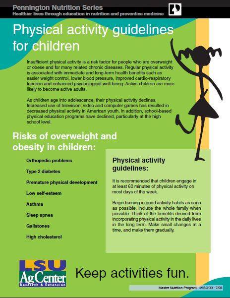 Fact Sheet: Physical Activity Guidelines for Children
