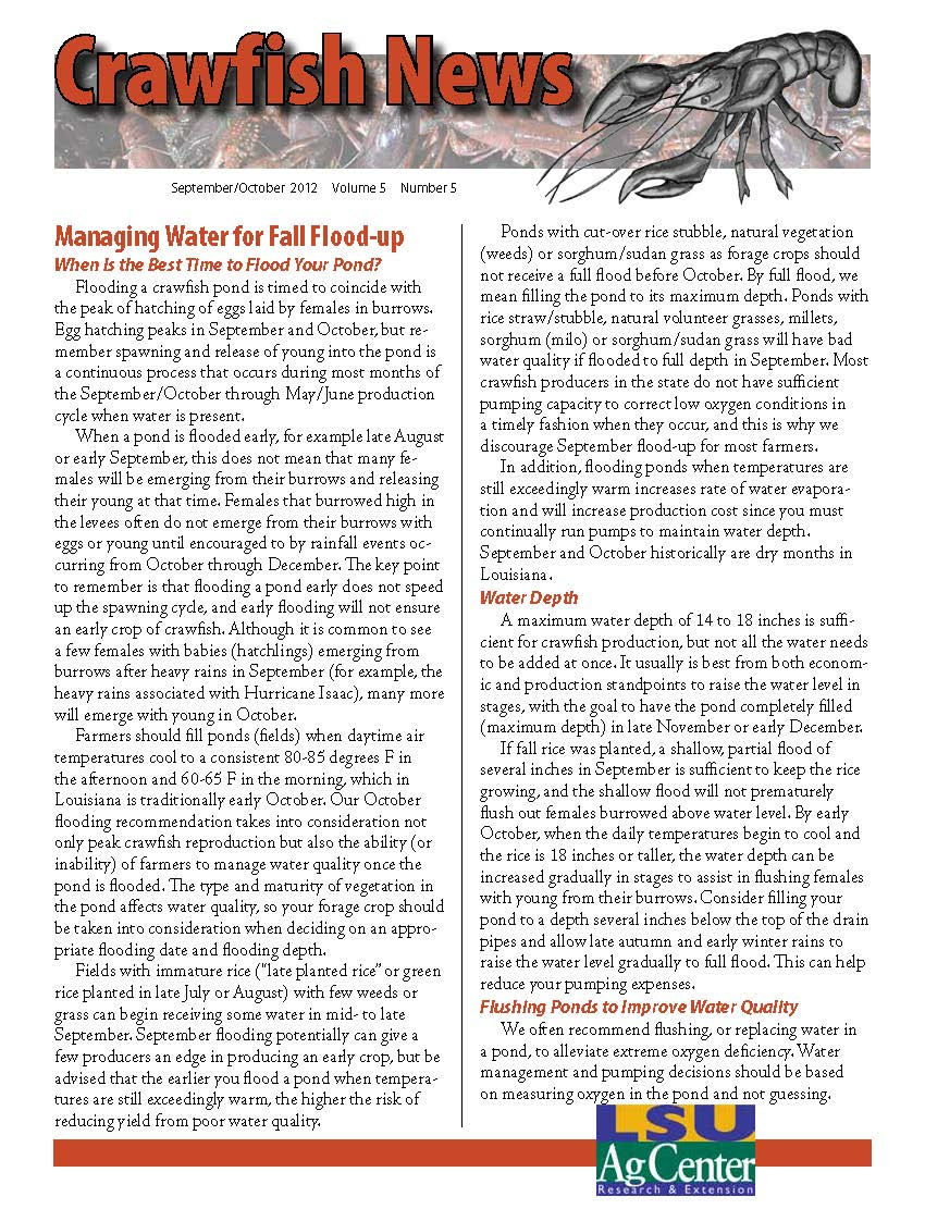 Crawfish News September/October 2012 (Vol 5, No 5)