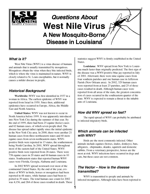 West Nile Virus -  A New Mosquito-Borne Disease in Louisiana