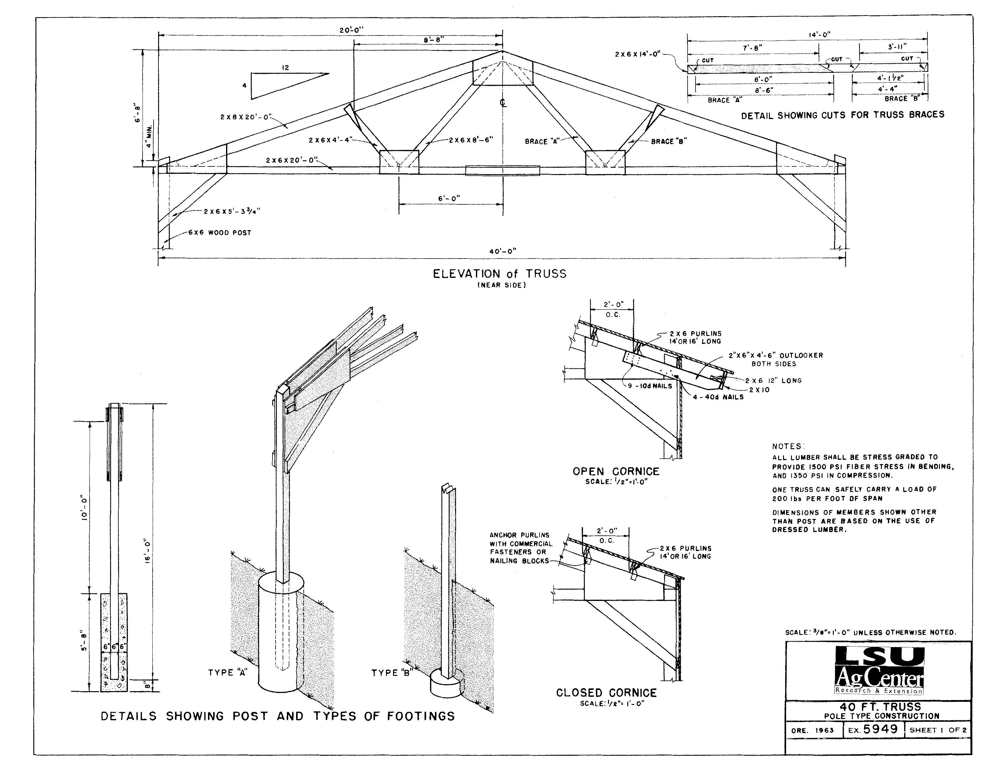 40 ft. Steel Pipe Truss (4.12 Pitch)