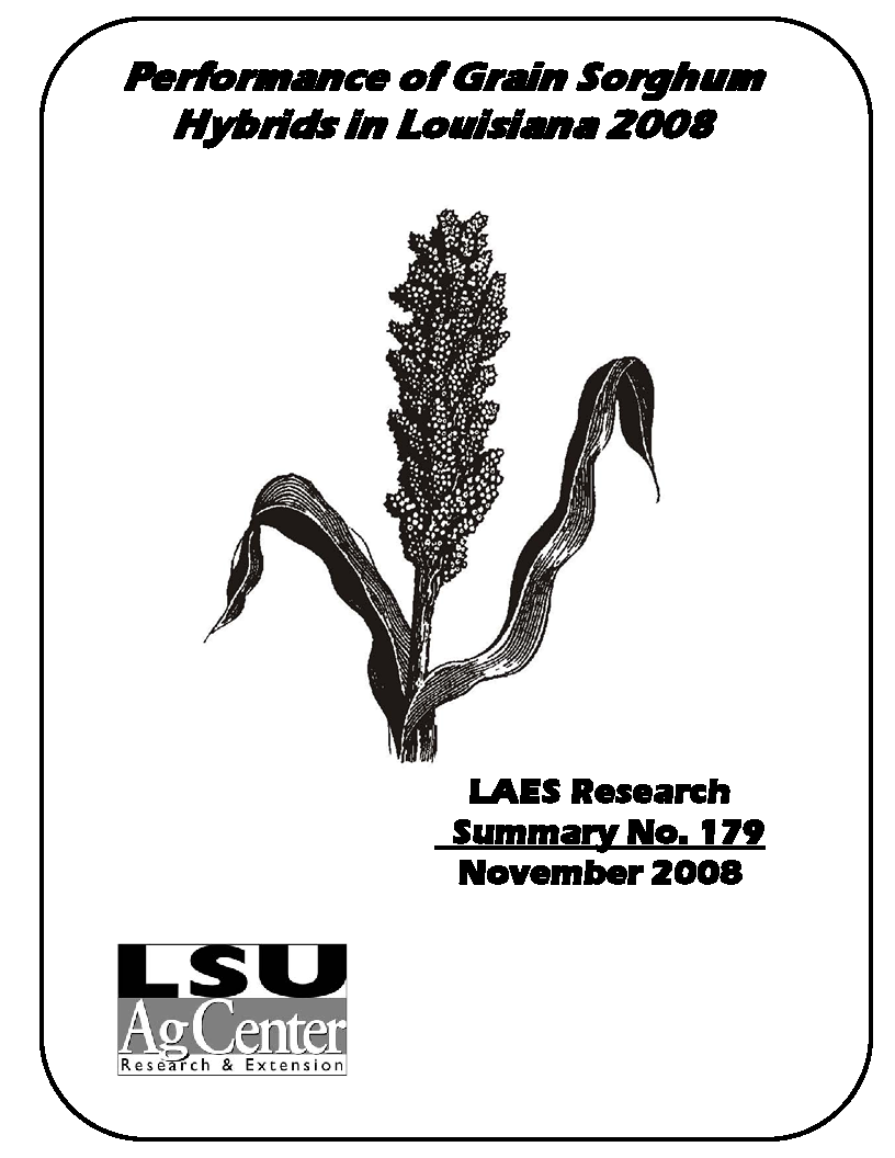 Performance of Grain Sorghum Hybrids in Louisiana 2008