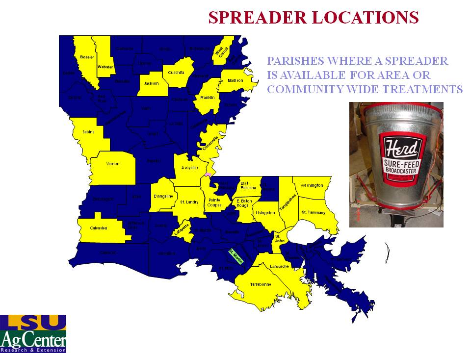 Parishes with Spreaders for Area-wide Programs