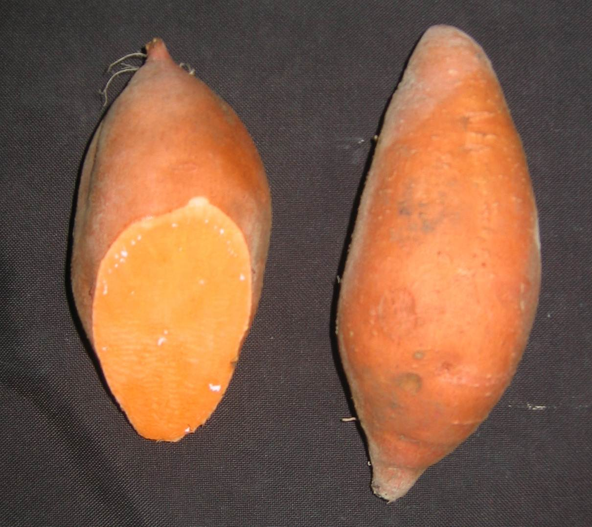 Two sweet potatoes with red skin. One has end cut revealing deep orange flesh.