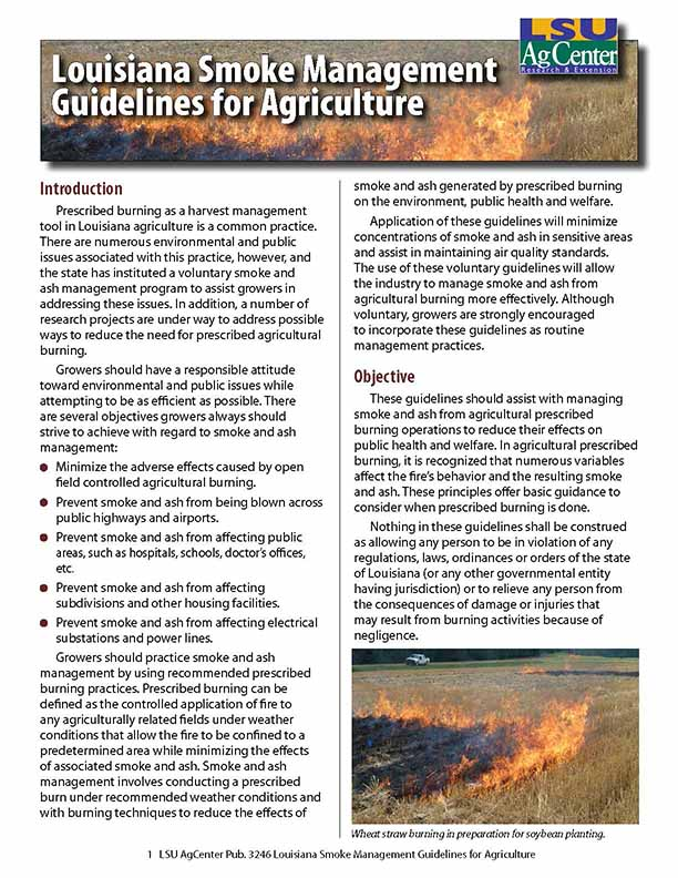 Louisiana Smoke Management Guidelines for Agriculture