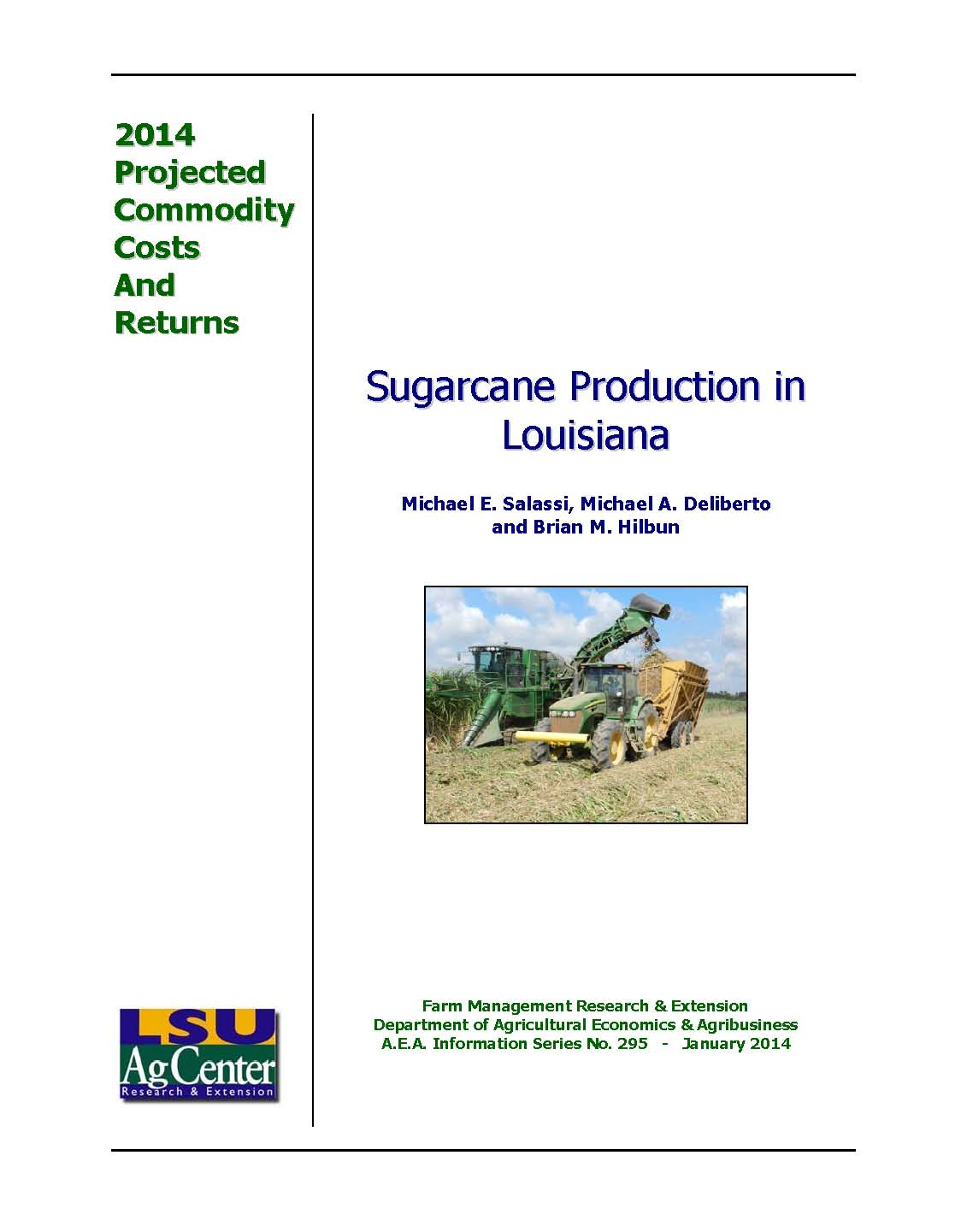 2014 Projected Sugarcane Production Costs