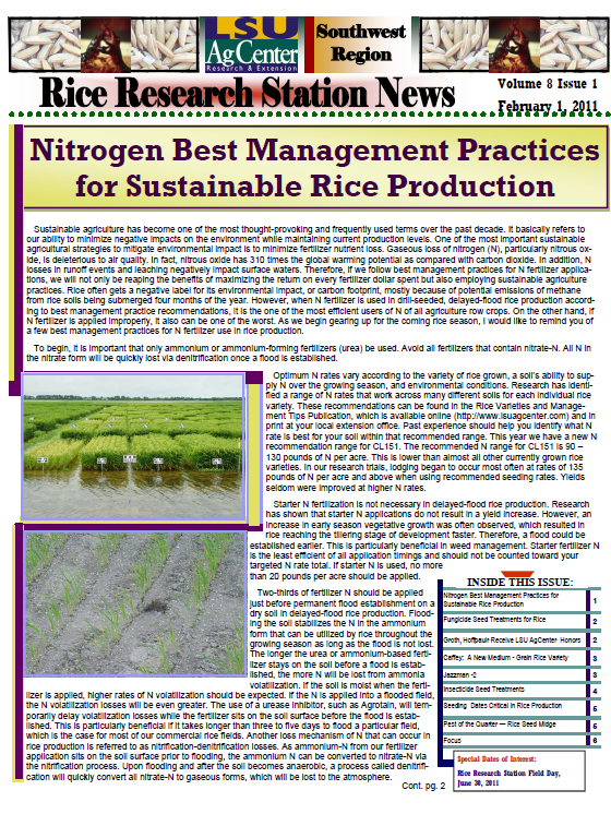 2011 Rice Research Newsletters