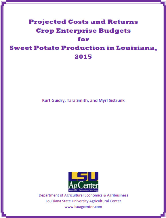 2015 Sweet Potato Production Cost Budget