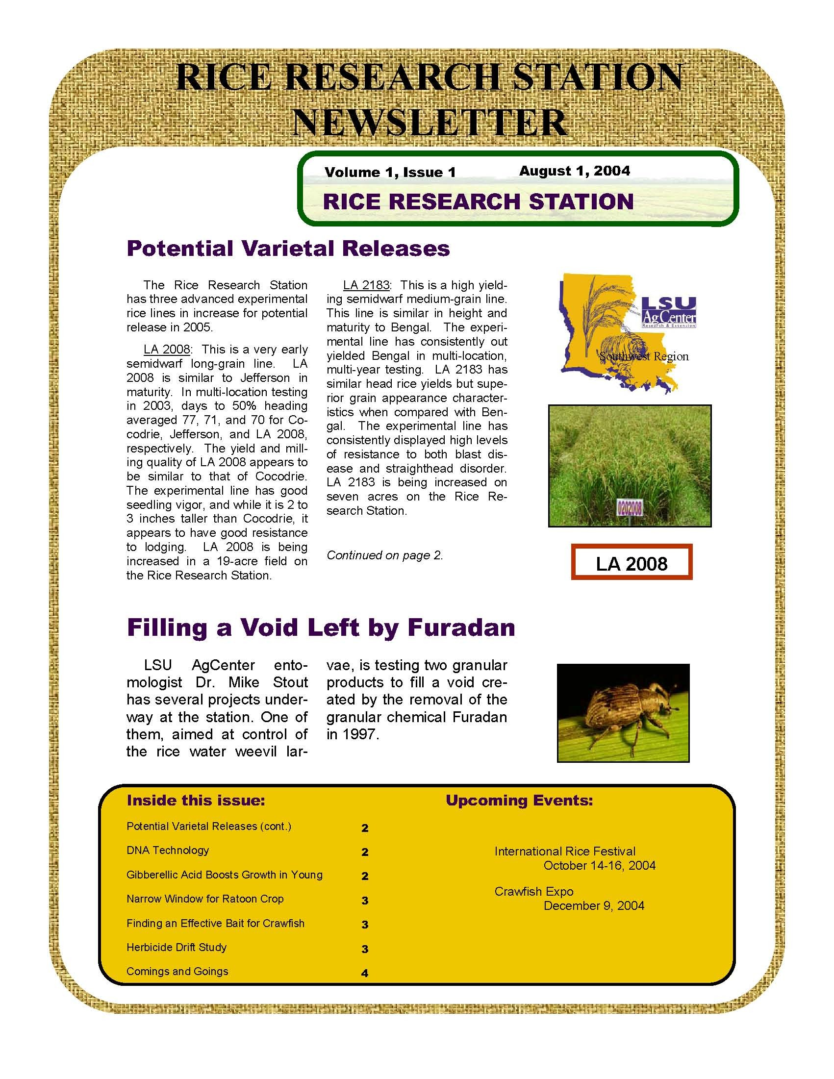 2004 Rice Research Station Newsletters