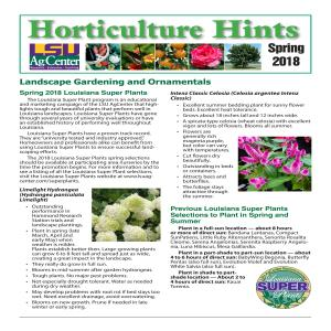 Horticulture Hints Spring 2018