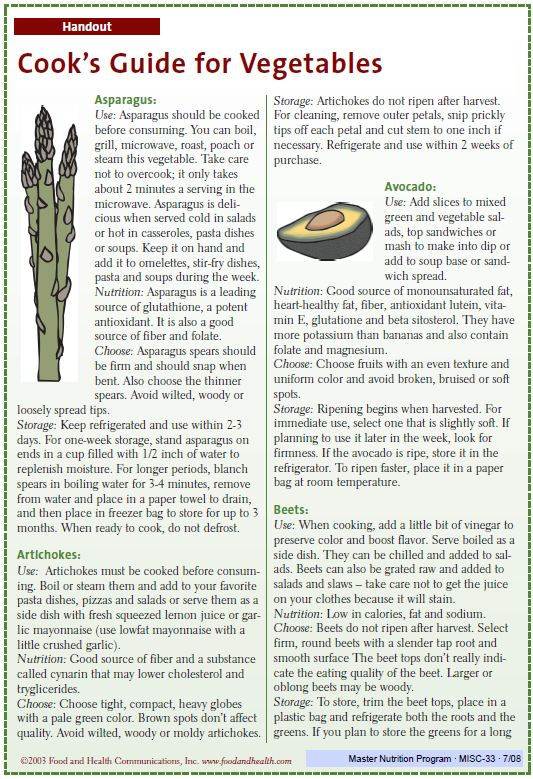 Fact Sheet: Cooks Guide for Vegetables