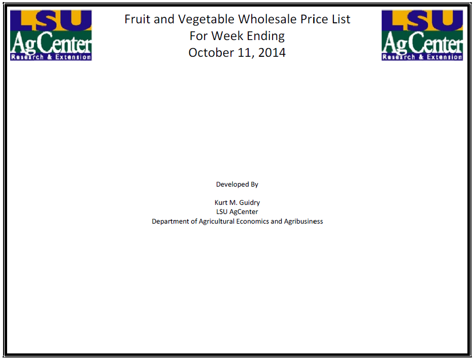 Fruit and Vegetable Wholesale Prices 10-11-14