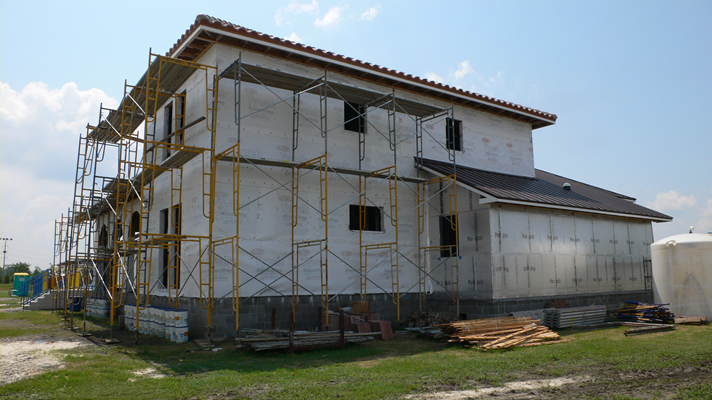 left side front view of LaHouse under construction