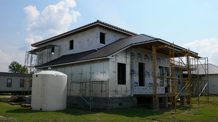 left side rear view of LaHouse under construction