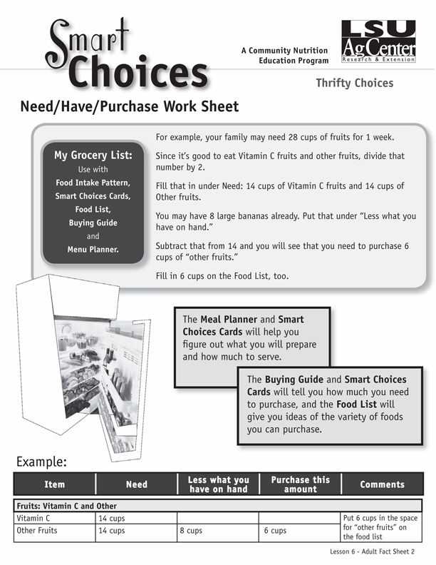 Smart Choices:  Need/Have/Purchase Worksheet
