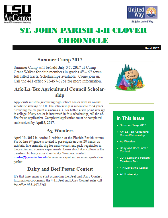 St. John Parish 4-H Clover Chronicle March 2017