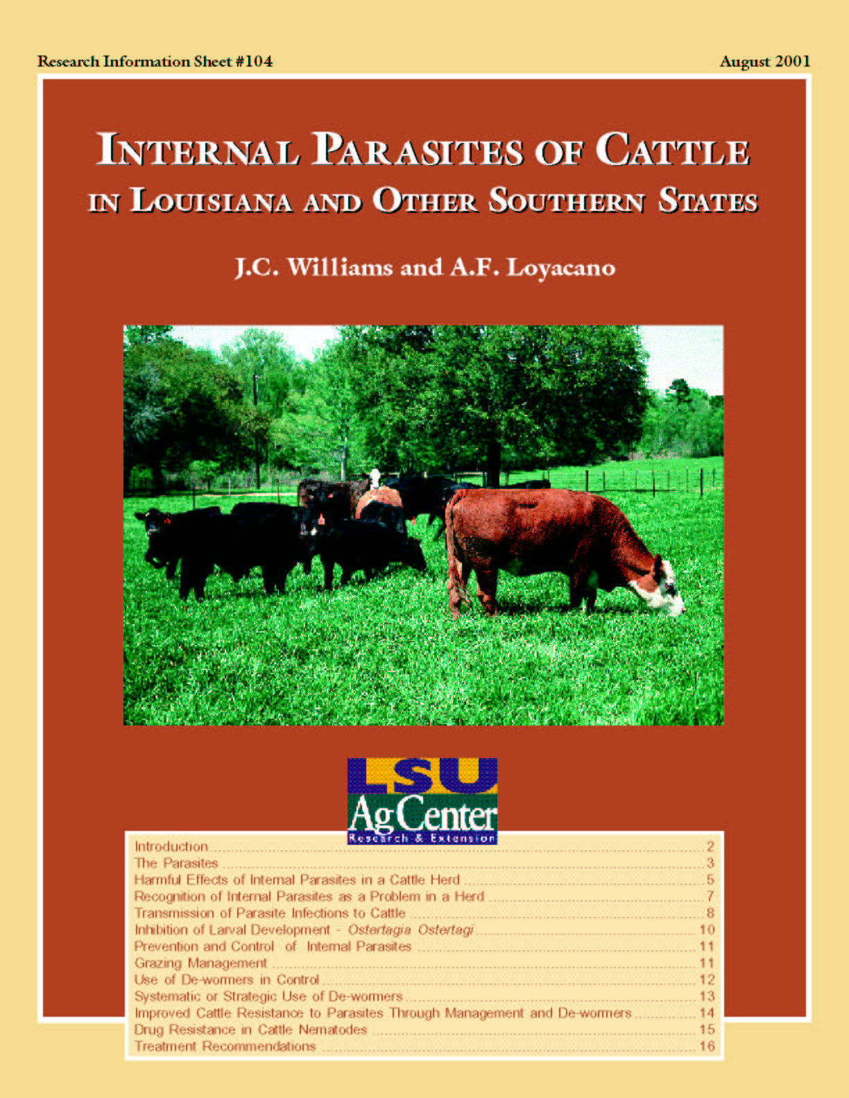 Internal Parasites of Cattle in Louisiana and Other Southern States (August 2001)
