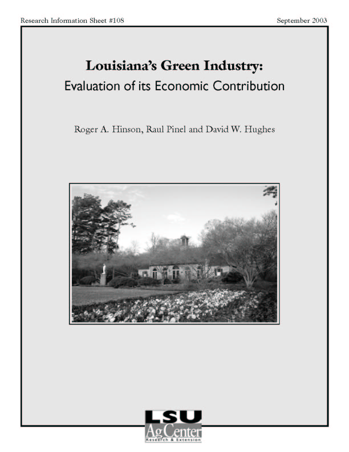 Louisianas Green Industry: Evaluation of its Economic Contribution (September 2003)