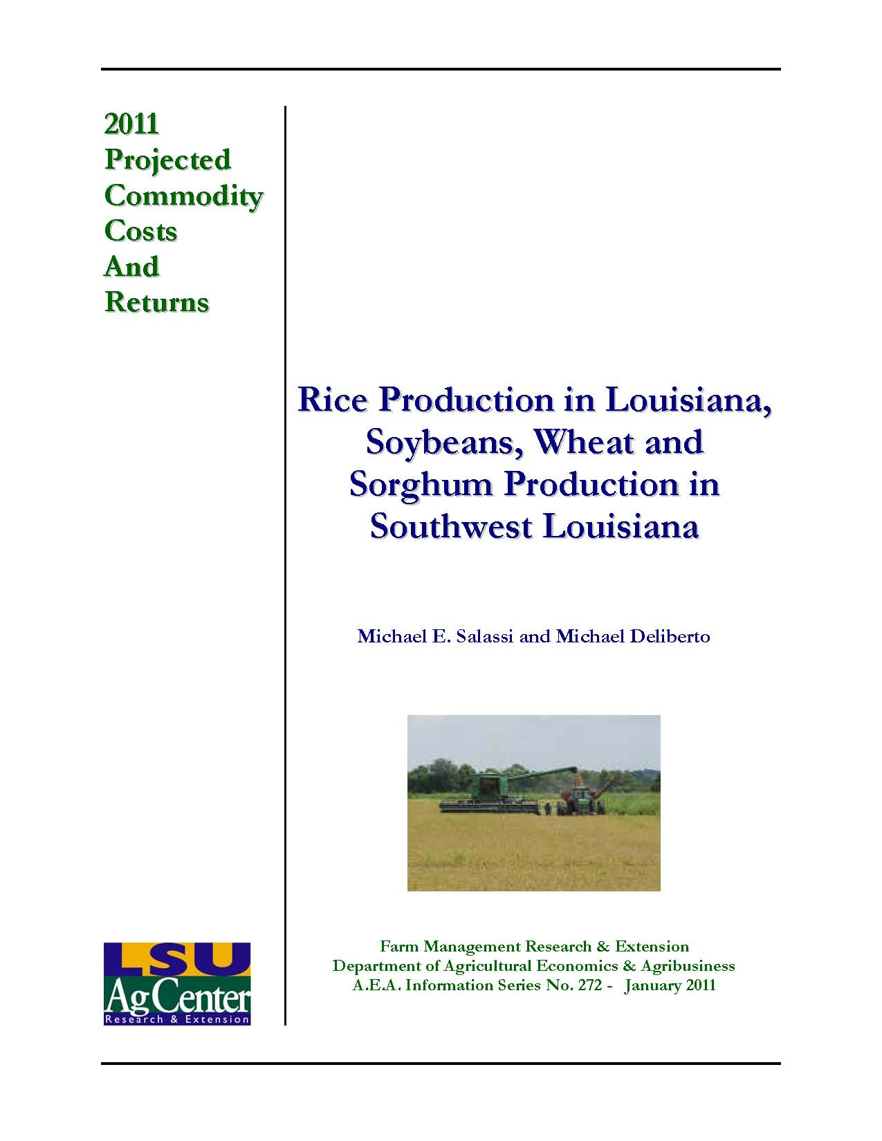 Projected Costs and Returns for Rice Soybeans Wheat and Sorghum Southwest Louisiana 2011
