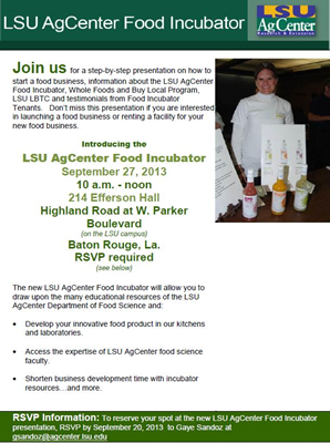 Learn about the resources of the LSU AgCenter's Food Incubator.