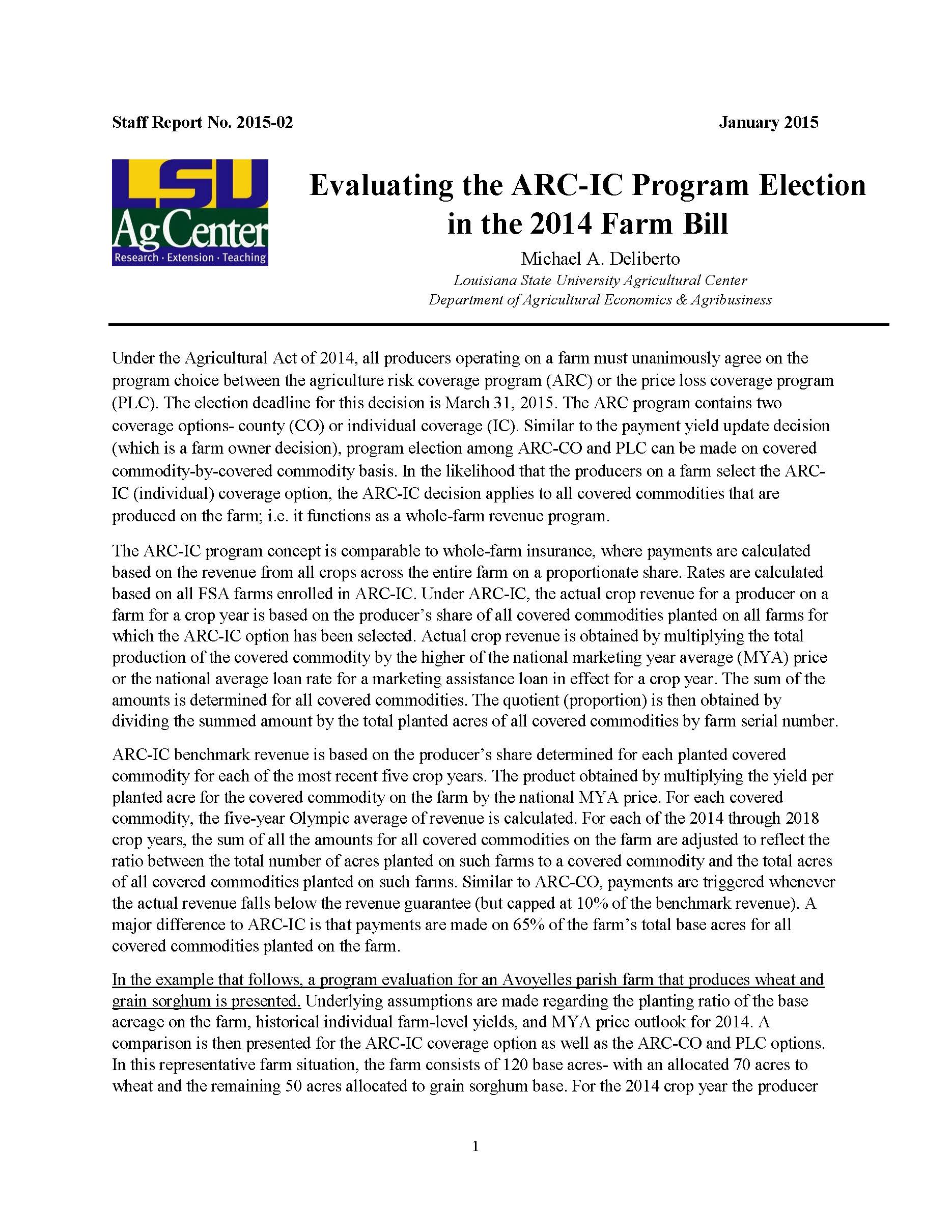 Evaluating the ARC-IC Program Election in the 2014 Farm Bill