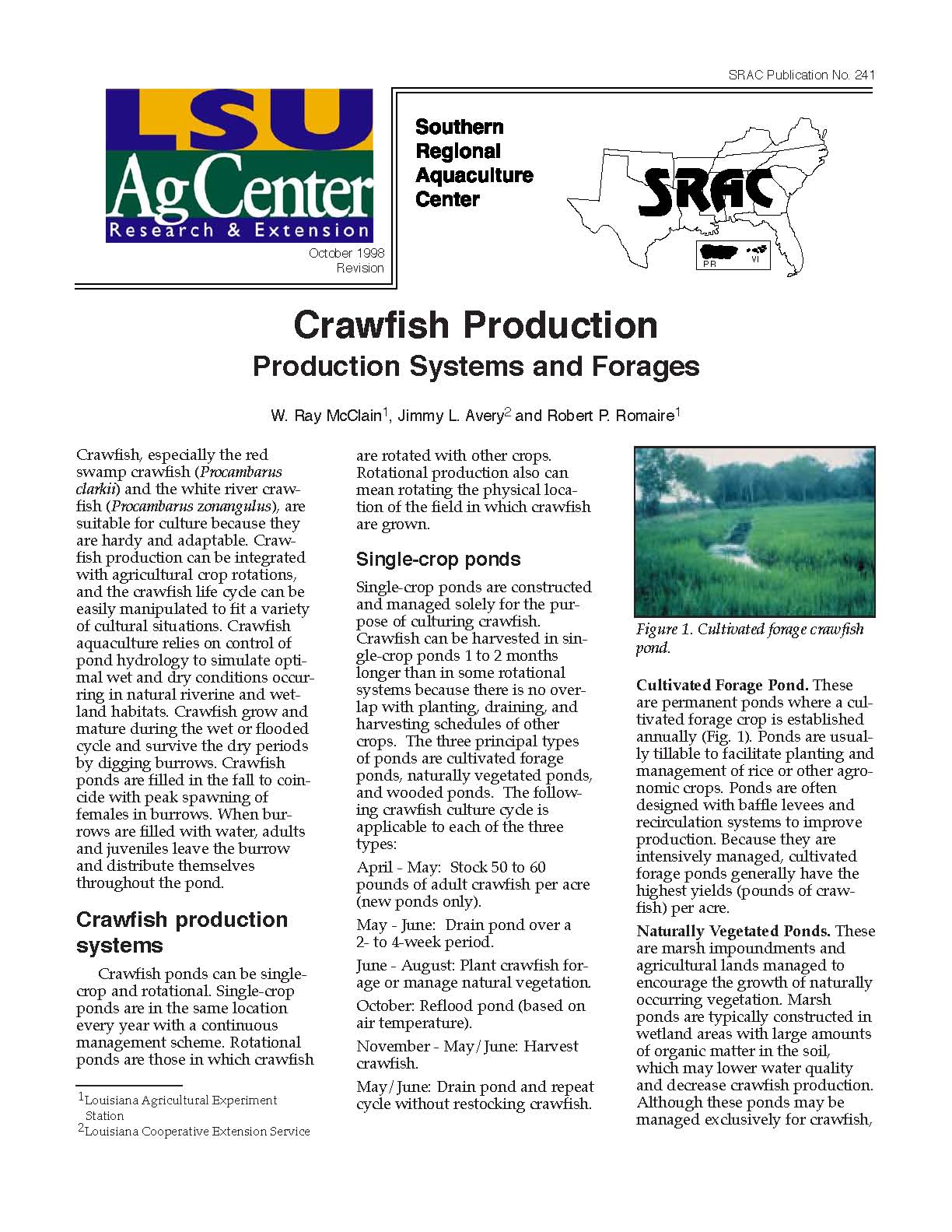 Crawfish Production: Production Systems and Forages