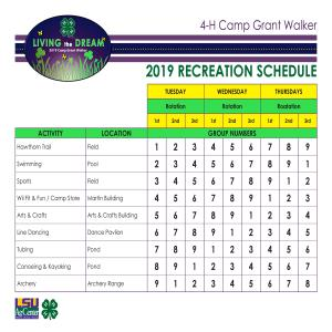 Recreation Schedule 2019