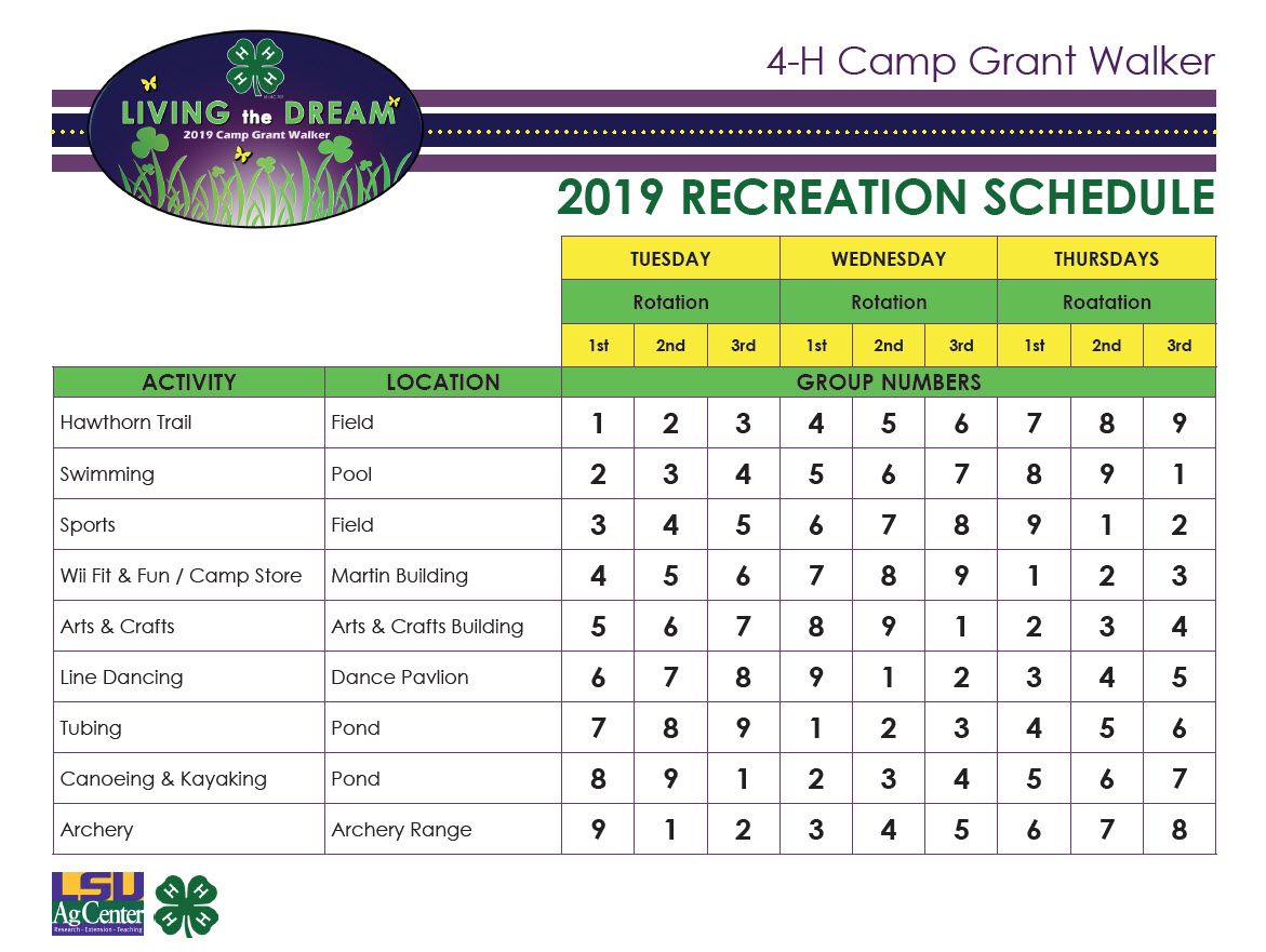 Recreation Schedule 2016