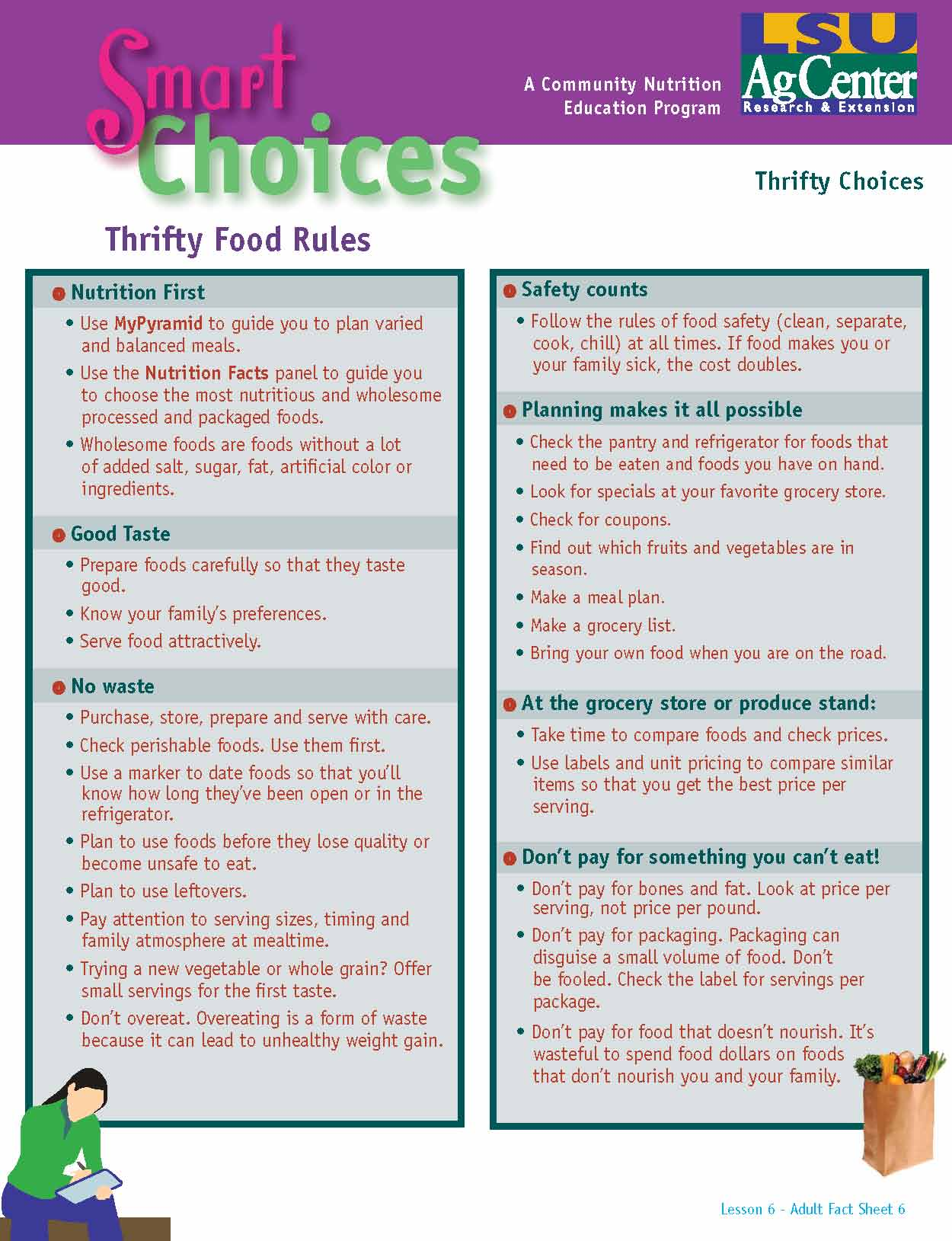 Smart Choices:  Thrifty Food Rules
