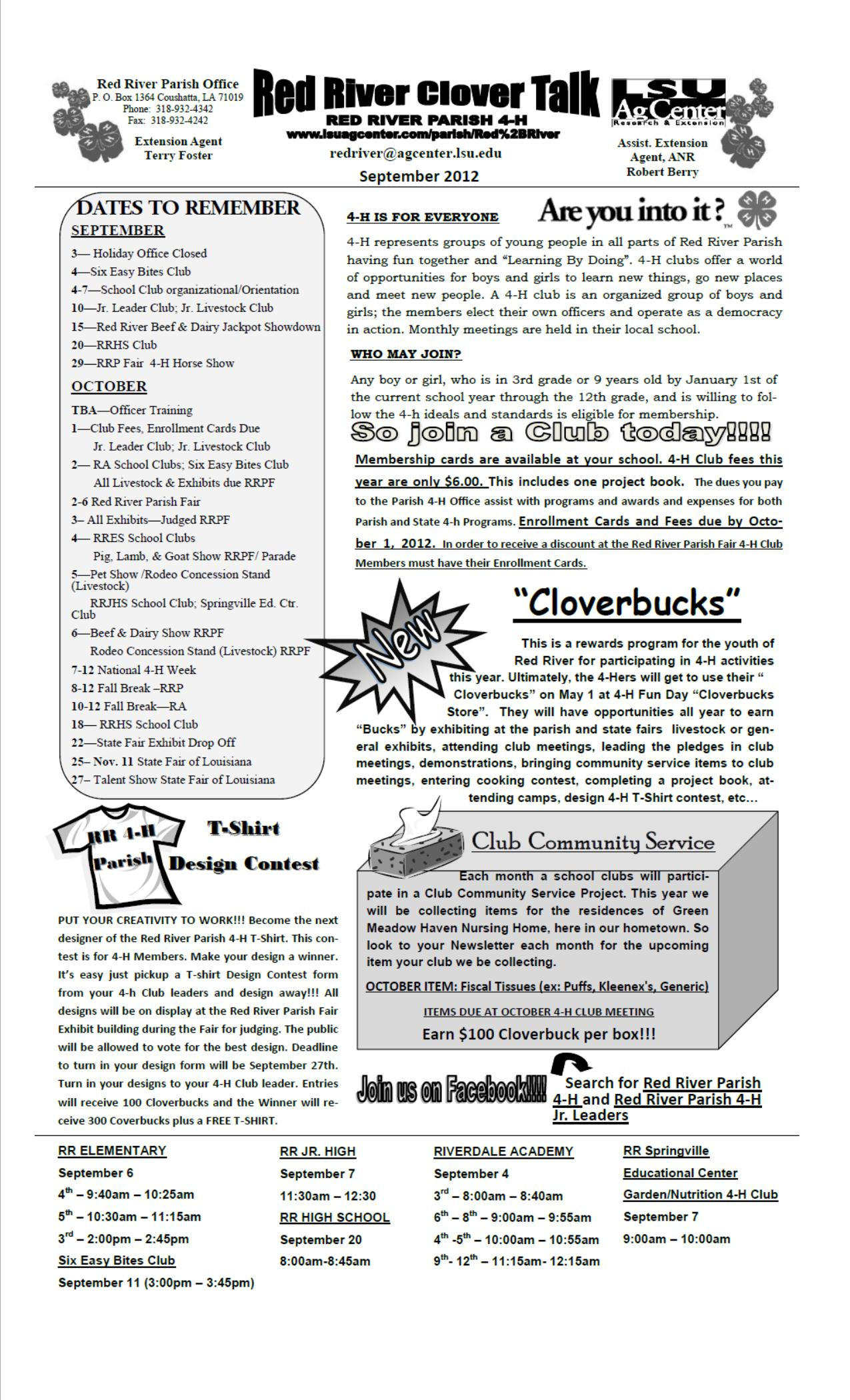 2012-2013 Red River Parish 4-H Newsletters