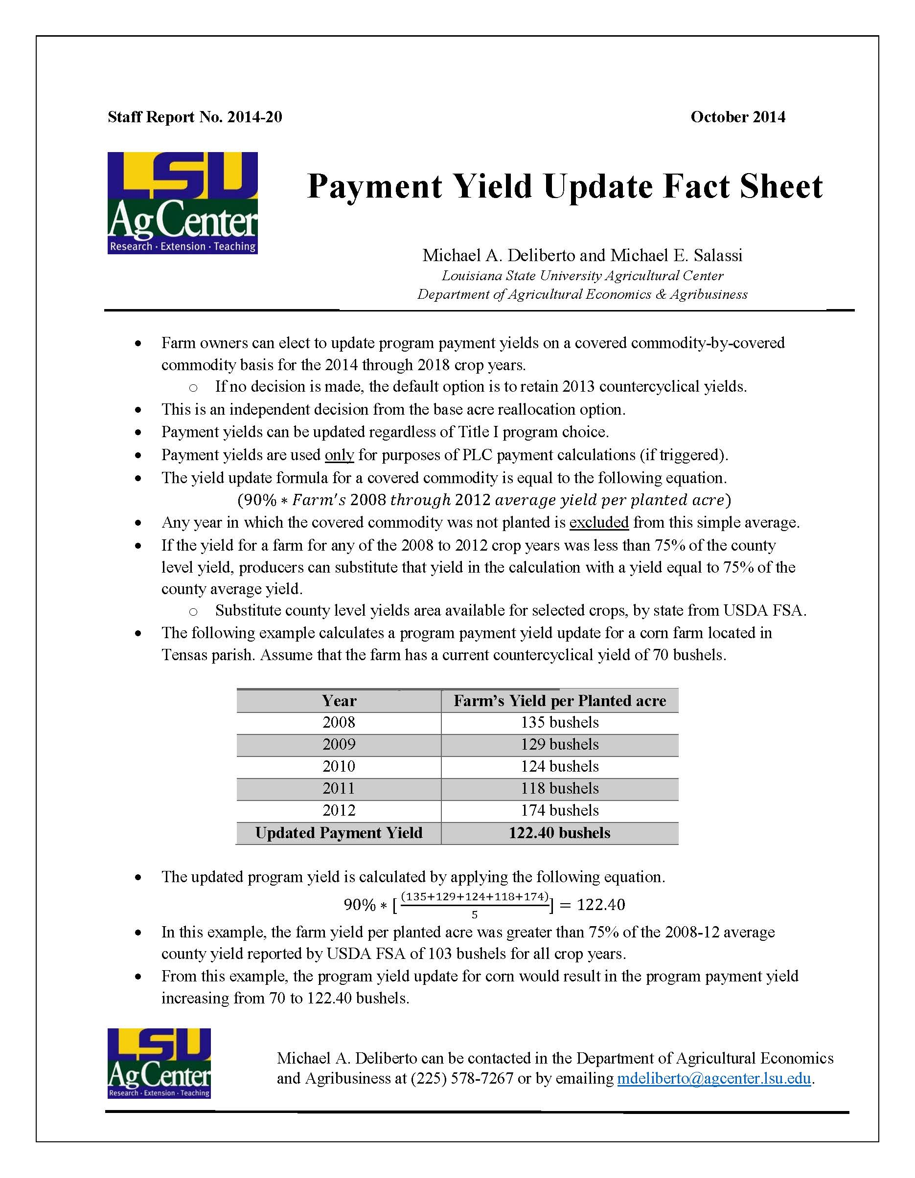 Payment Yield Update Fact Sheet