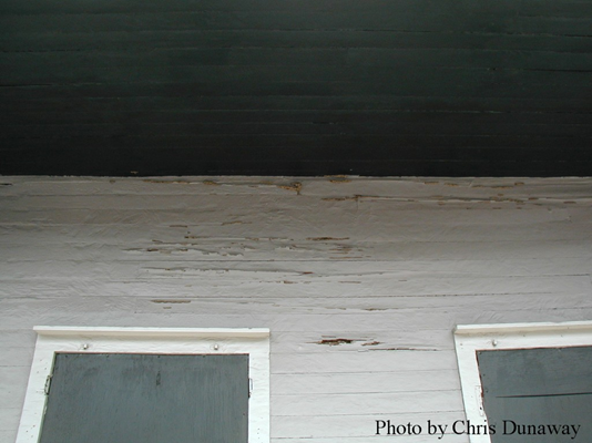 Termite damage to exterior wall.