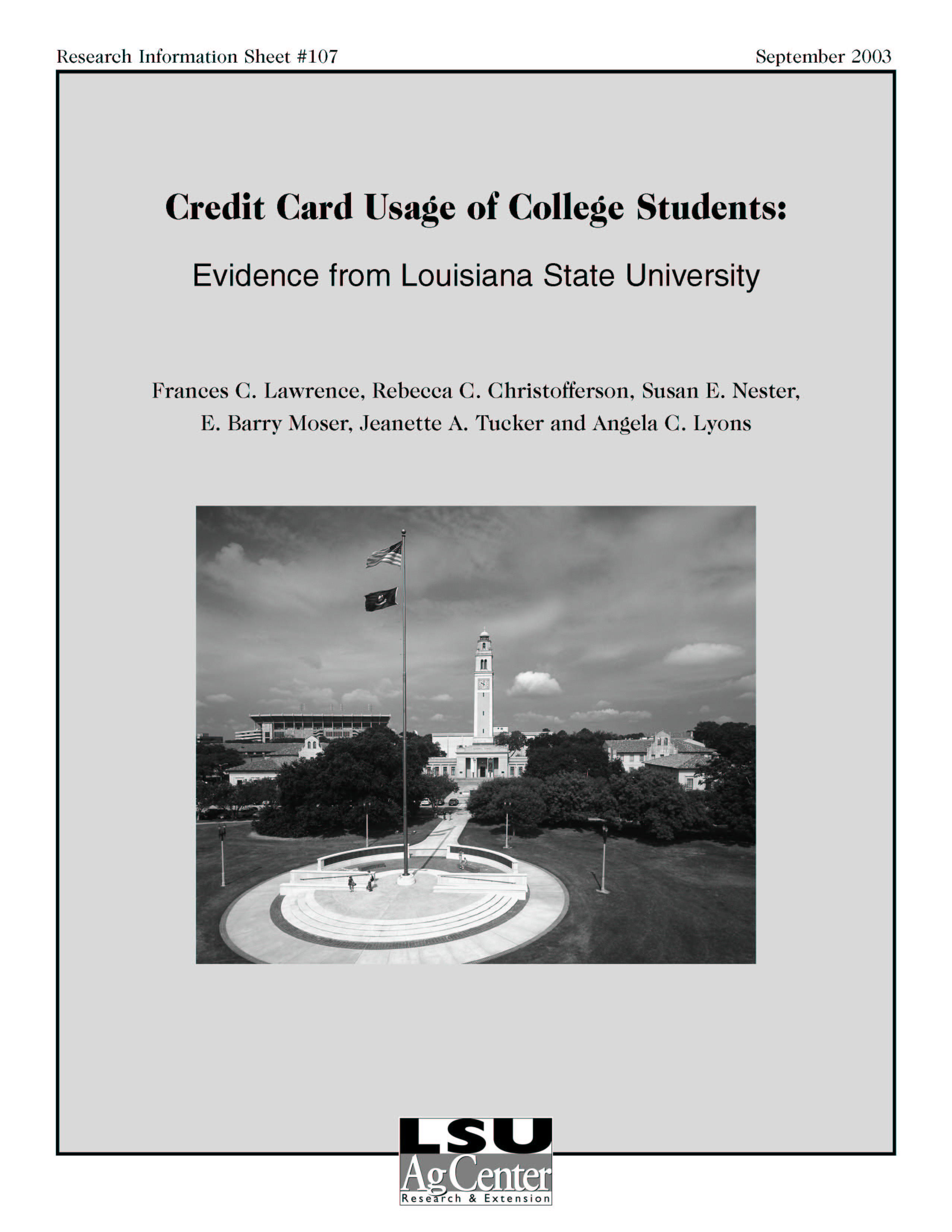 Credit Card Usage of College Students: Evidence from Louisiana State University (September 2003)