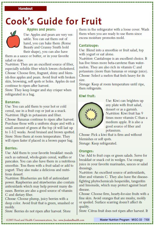 Fact Sheet: Cooks Guide for Fruit