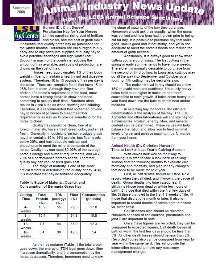 Animal Industry News Update August 2008