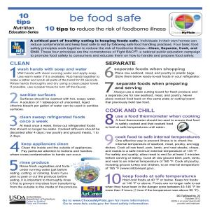Be food safe: 10 tips to reduce the risk of foodborne illness