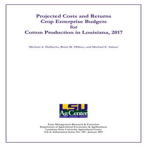 Projected Commodity Costs and Returns for Cotton, 2017