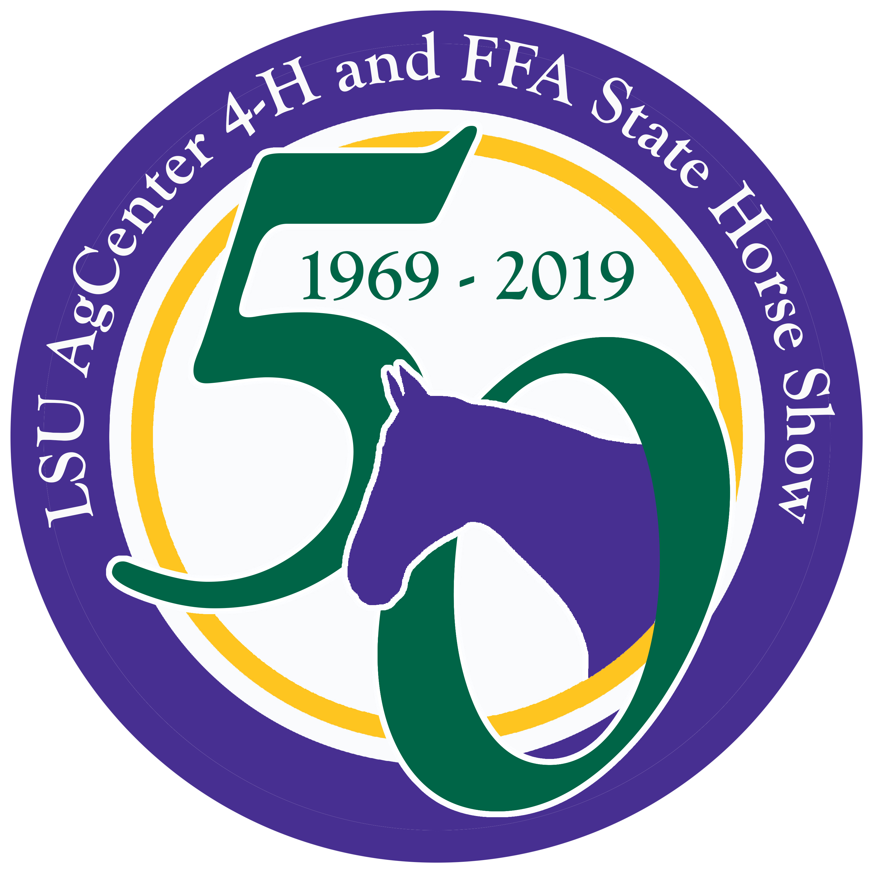 50th Anniversary Logo-ESM. LSU AgCenter 4-H and FFA State Horse Show.